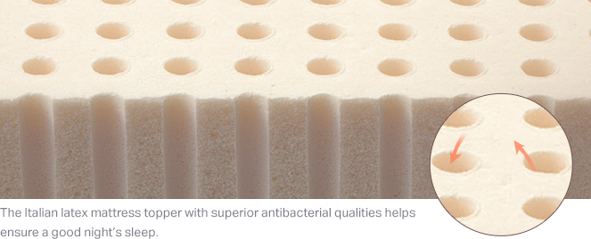 The Italian latex mattress topper with superior antibacterial qualities helps ensure a good night's sleep.