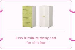 Low furniture designed for children