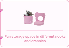 Fun storage space in different nooks and crannies