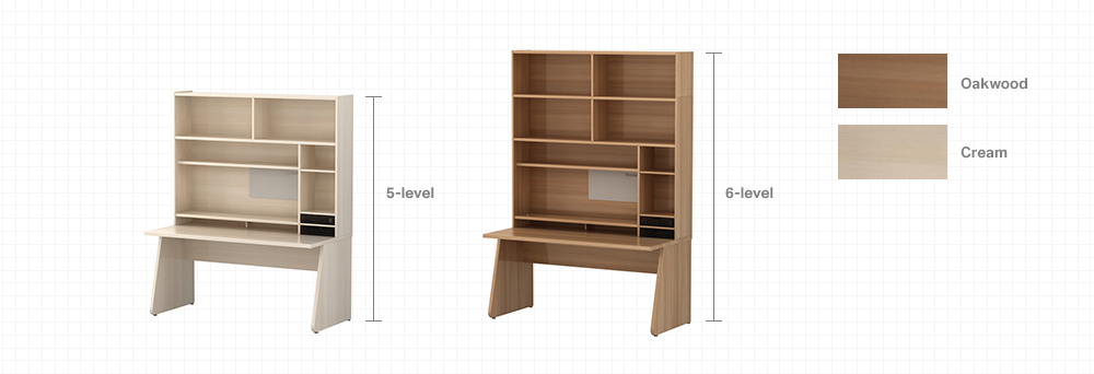 5-level/6-level bookcases in maple/maple white colors image